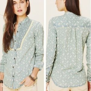 [Free People] Hillside Floral Chambray Button Down